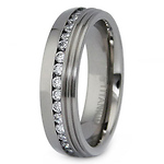Titanium Eternity Band with CZ Stones