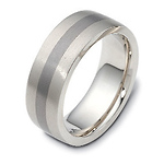 7.5mm White Gold Inlay Titanium Dora Wedding Band