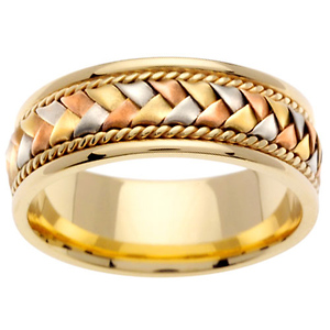8 5mm Handmade Woven 14k Tri Color Gold Wedding Band Men Jewelryvortex