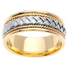 8.5mm Handmade 14K Two Tone Cord & White Gold Braided Wedding Band
