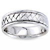 7mm 14K  White Gold Woven Handmade Band