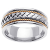 8.5mm Designer Handmade Rope Braided Wedding Band in 14K Two Tone Gold