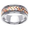 8.5mm Tri-Color Handmade Braid & Cord 14K White Gold Wedding Band