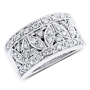 0.50ct 14K White Gold Floral Design Pave Set Ring
