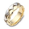 Carved & Engraved 8.00 mm 14K Two Tone Gold Designer Braid Band