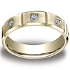 Bar Cut 14K Yellow Gold Bezel Set Diamond Wedding Band