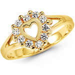 Round CZ Open Heart Ring in 14K Yellow Gold