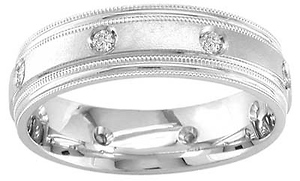 .16ct 14k White Gold Milgrain Diamond Wedding Band