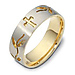7mm 18K Two Tone Gold Floral Cross Wedding Band thumb 0