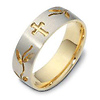 7mm 18K Two Tone Gold Floral Cross Wedding Band