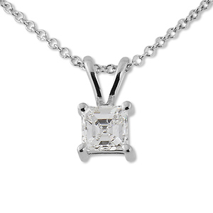 0.40ct Asscher Cut 4 Prong Solitaire Pendant