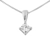 14K White Gold 0.33ct Princess Diamond Solitaire Pendant & Box Chain
