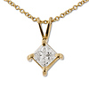 14K Yellow Gold 0.50ct Princess Cut 4 Prong Solitaire Pendant