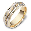 Striped 7.00mm 14K Two Tone Dora Wedding Band
