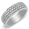14K White Gold Triple Row Pave Set Diamond Wedding Band 0.75ctw