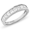 14K White Gold 1.00ctw Princess Cut Channel Set Ring