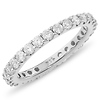 14K White Gold 1ctw Pave Set Diamond Eternity Ring