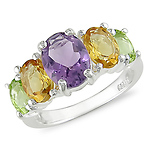 Sterling Silver 4 CT TGW Semi-Precious 5 Stone Fashion Ring