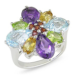 Sterling Silver 7 CT TGW Semi-Precious Fashion Ring