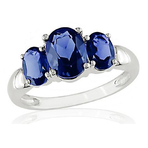 Sterling Silver 3.50 CT TGW Synthetic Sapphire 3 Stone Ring