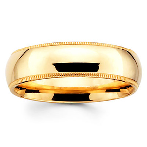 6mm Yellow Gold Comfort Fit Milgrain Band