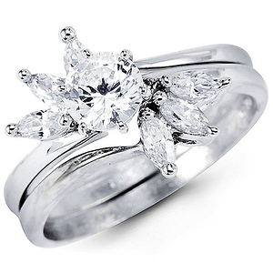 14K White Gold Bypass Fanned Round CZ Wedding Ring Set
