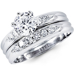 14k White Gold Round Cubic Zirconia Wedding Ring Set