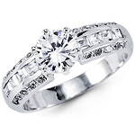 Fancy 14K White Gold CZ Engagement Ring with Side Stones