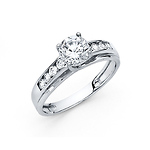 Trellis 14K White Gold CZ Ring