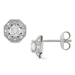 Sterling Silver Ear Pin Earrings Round Diamond 0.15 CT TDW & 0.90 CT Synthetic White Sapphire TGW Butterfly
