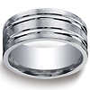 10mm Comfort-Fit High Polished Double Groove Argentium Silver Band