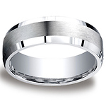 7mm Argentium Silver Satin Beveled Comfort-Fit Wedding Band