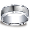 9mm Satin Center Milgrain Design Comfort-Fit Argentium Silver Band