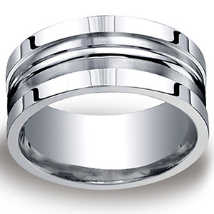 10mm Satin Double Groove & Square Edge Argentium Silver Ring - Men