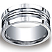 10mm Satin Double Groove & Square Edge Argentium Silver Ring - Men thumb 0