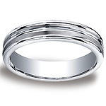 5mm Satin Double Groove Center Argentium Silver Wedding Ring