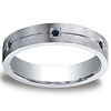 5mm Comfort-Fit Argentium Silver 6 Black Diamond Band Ring