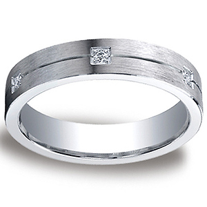 5mm Argentium Silver Comfort-Fit Pave 6-Diamond Band by Benchmark