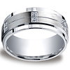 9mm Argentium Silver Pave Set 12-Diamond Wedding Band