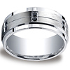 9mm Argentium Silver 12-Black Diamond Wedding Band for Men