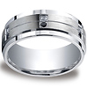 Men's 9mm Argentium Silver White & Black Diamond Band Ring