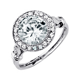 Vintage-Style Halo Round Cut CZ Engagement Ring in Sterling Silver 3.0ctw