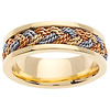 7mm 14K Tri-Color Gold Rope Woven Wedding Band