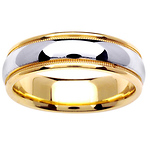 6.5mm Two Tone 14k Milgrain Ring