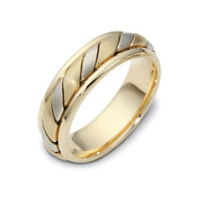 6.50 mm 18K Two Tone Woven Candy Cane Wedding Band