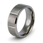 8mm Bar Carved Flat Titanium Wedding Band