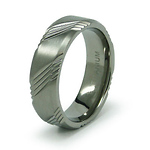 7mm Three Engraved Striped Pattern Titanium Band