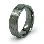 Carved Pattern 7mm Titanium Ring