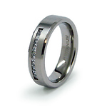 6mm CZ Channel Set Titanium Wedding Band