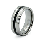 Step Edge Black Stripe Titanium Band